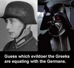 Guess which evildoer the Greeks are equating with the Germans