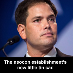 The neocon establishment's new little tin car.